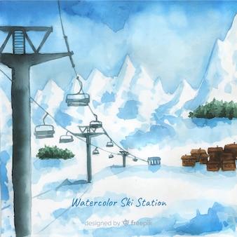 Stazione sciistica ad acquerello