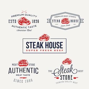 Steak house o negozio di carne etichette tipografia vintage, emblemi, modelli di logo. set di segni.