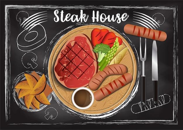Steakhouse con sfondo di lavagna