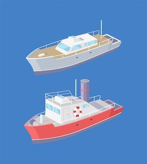 Steamboat marine transport vessel sailing in sea