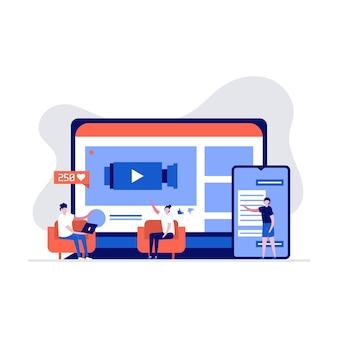 Steaming live, telefono cellulare e concetto di streaming video in diretta. personaggio delle persone in streaming tramite smartphone.