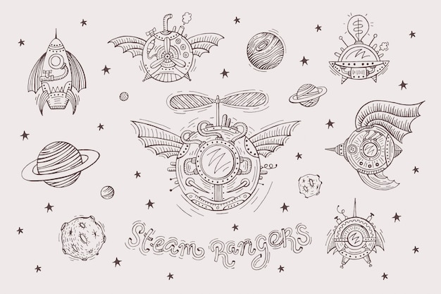 Steampunk set con astronavi