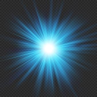 Stella blu bagliore scoppio bagliore effetto luce esplosione. isolato su sfondo trasparente