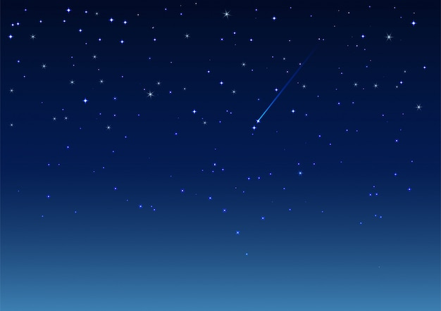 Stella cadente nel cielo notturno