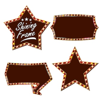 Stella cartellone vettoriale. cartello luminoso. realistico telaio della lampada shine. carnevale, circo, casino style. illustrazione isolata