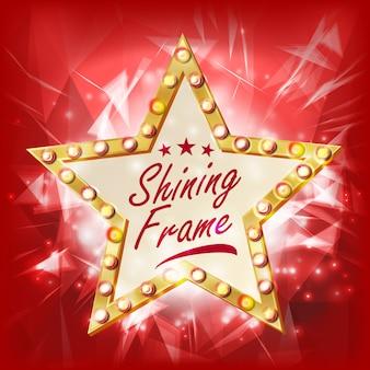 Stella d'oro cornice vettoriale. emblema della stella di diamante di bellezza. shine lamp. elemento di design pubblicitario. illustrazione di decorazione
