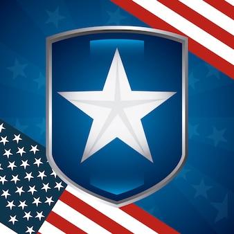Stella degli stati uniti in scudo con il disegno della bandiera americana