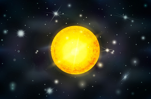 Stella del sole luminoso con raggi di luce sullo sfondo dello spazio profondo con stelle luminose e costellazioni
