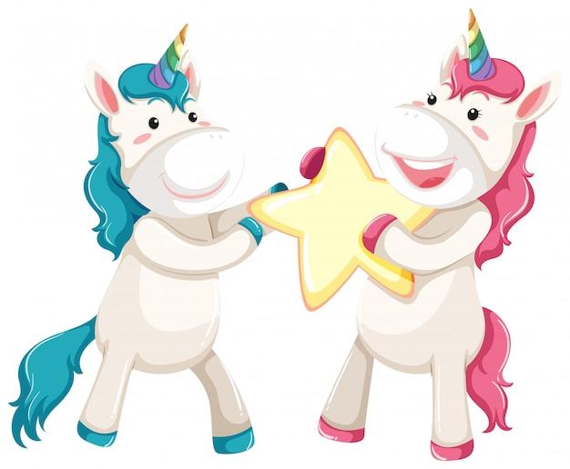 Stella della holding di unicorno carino