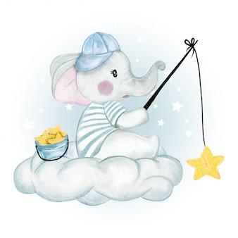 Stella di pesca dell'elefante del bambino sopra la nuvola