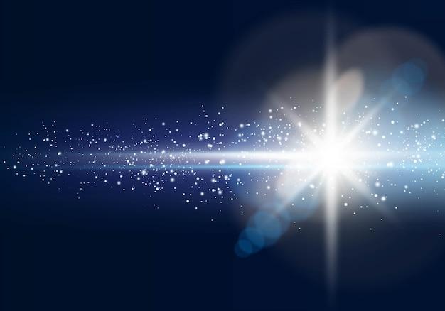 Stella luminosa incandescente con riflesso lente