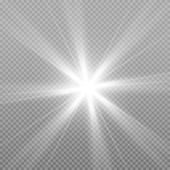Stella luminosa. la luce bianca incandescente esplode su uno sfondo trasparente.