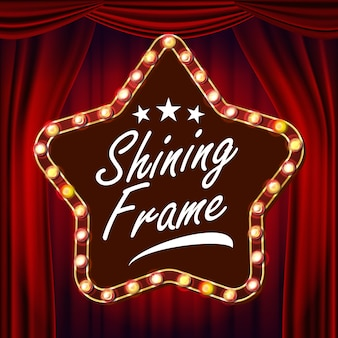 Stella retrò cartellone vettoriale. tenda rossa del teatro. cartello luminoso. realistico telaio della lampada a stella splendente. carnevale, circo, casino style. illustrazione