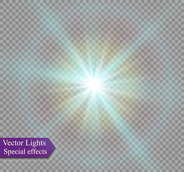 Stella su uno sfondo trasparente, effetto luce, illustrazione. esplosione di scintillii