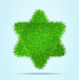 Stella verde di david israel dei triangoli o delle piramidi dell'erba verde su un chiaro fondo blu.