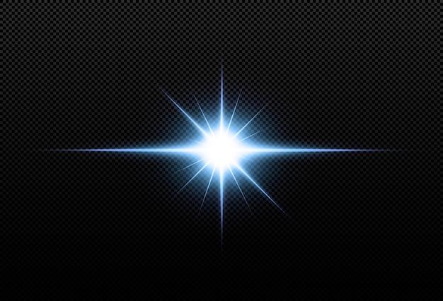 Stelle al neon brillanti isolate su fondo nero. effetti, riflesso lente, lucentezza, esplosione, luce al neon, set. stelle brillanti, splendidi raggi blu.