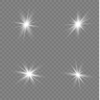 Stelle bianche, luce, riflesso lente, glitter, raggi solari, scintille.