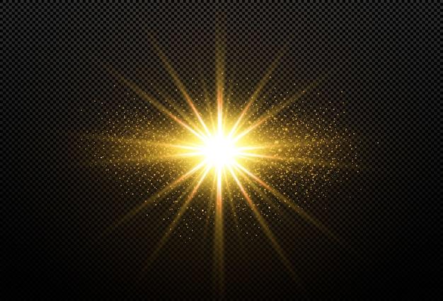 Stelle dorate brillanti isolate su fondo nero. effetti, riflesso lente, lucentezza, esplosione, luce dorata, set. stelle splendenti, splendidi raggi dorati. .