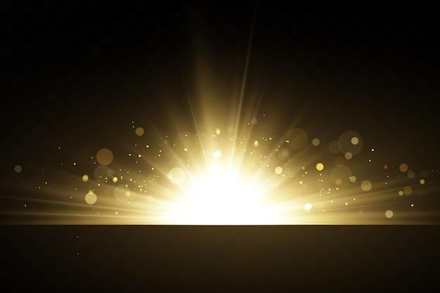 Stelle dorate brillanti isolate su priorità bassa nera. effetti, abbagliamento, linee, glitter, esplosione, luce dorata. illustrazione vettoriale set.
