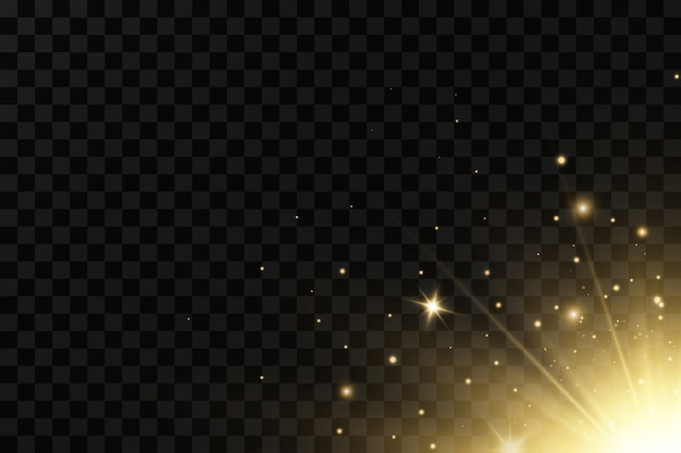 Stelle dorate brillanti su fondo nero. effetti, bagliore, linee, glitter, esplosione, luce dorata. illustrazione