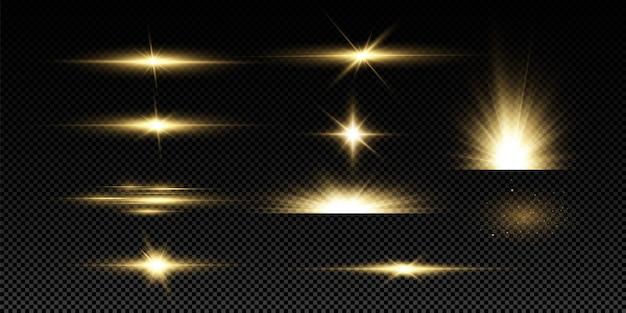 Stelle dorate brillanti su sfondo nero. effetti, abbagliamento, linee, glitter, esplosione, luce dorata. illustrazione