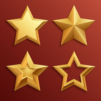 Stelle dorate del metallo realistico isolate per l'insieme di vettore della decorazione di festa e di valutazione. illustrazione della decorazione stella per la valutazione del premio