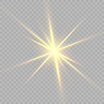 Stelle gialle, luce, riflesso lente, glitter, bagliore del sole.