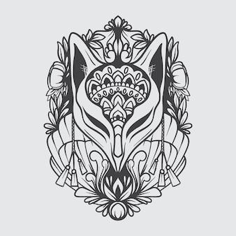 Stencil ornamentale maschera kitsune in bianco e nero