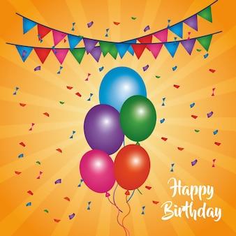 Stendardi multicolori dei coriandoli degli aerostati della carta di buon compleanno