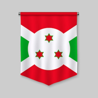 Stendardo realistico 3d con la bandiera del burundi