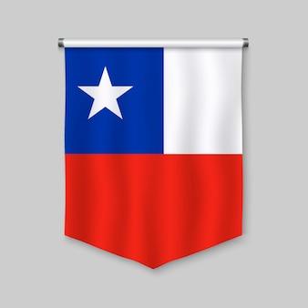 Stendardo realistico 3d con la bandiera del cile