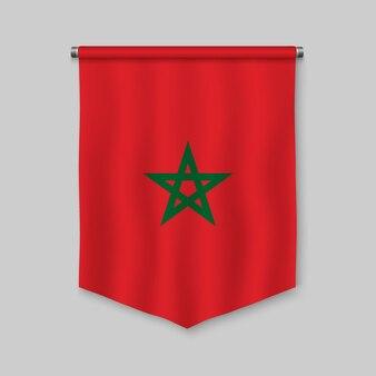 Stendardo realistico 3d con la bandiera del marocco