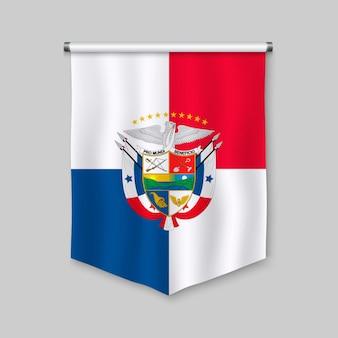 Stendardo realistico 3d con la bandiera del panama