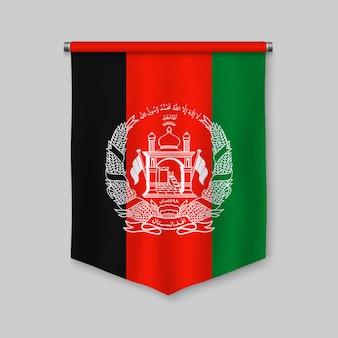 Stendardo realistico 3d con la bandiera dell'afghanistan