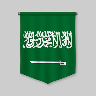 Stendardo realistico 3d con la bandiera dell'arabia saudita