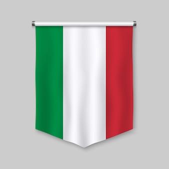 Stendardo realistico 3d con la bandiera dell'italia