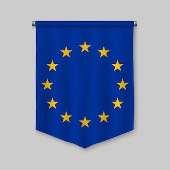 Stendardo realistico 3d con la bandiera dell'unione europea
