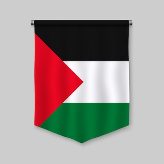 Stendardo realistico 3d con la bandiera della palestina