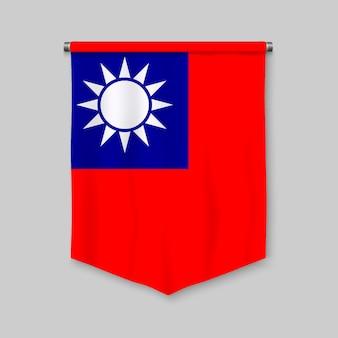 Stendardo realistico 3d con la bandiera di taiwan