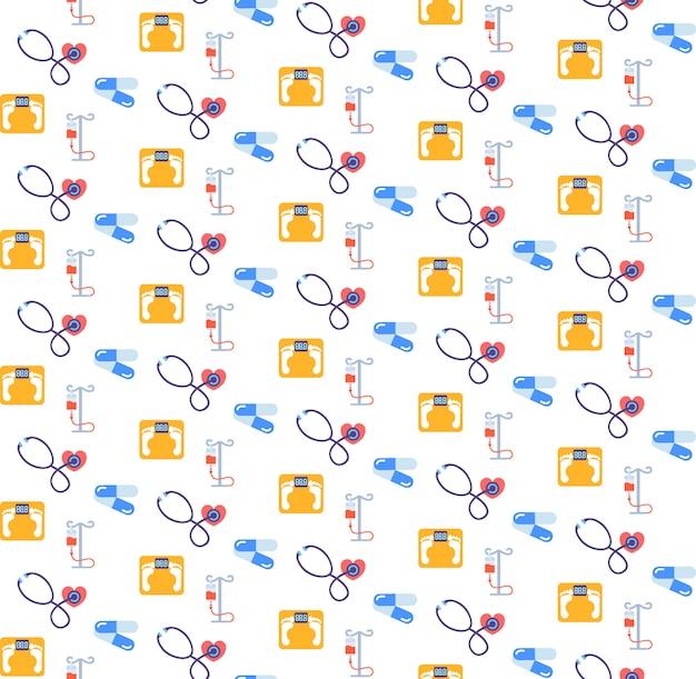 Stetoscopio contagocce bilancia antibiotico pillole icona assistenza sanitaria servizio medico logo medicina e salute simbolo seamless pattern piatto