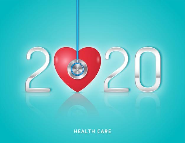 Stetoscopio di concetto medico e sanitario e controllo del cuore per l'anno 2020