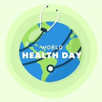 Stetoscopio disegnato a mano di giorno di salute di mondo che circonda la terra