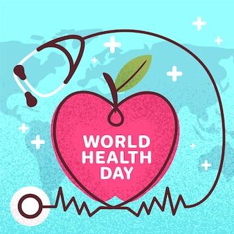 Stetoscopio e cuore del giorno di salute di mondo disegnati a mano