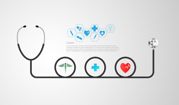Stetoscopio e infografica.