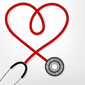Stetoscopio formando una forma di cuore