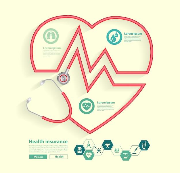 Stetoscopio rosso a forma di cuore con icone di scienza