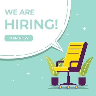 Stiamo assumendo attività e reclutando con l'illustrazione della sedia