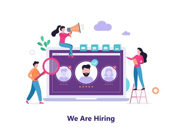Stiamo assumendo. persone in cerca di un candidato di lavoro. idea di reclutamento e caccia alle teste. ricerca di dipendenti per team aziendali. illustrazione
