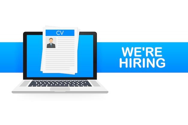 Stiamo assumendo. reclutamento . assumere lavoratori, scegliere i datori di lavoro per la ricerca di lavoro. riprendi icona. illustrazione.