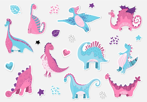 Sticers di dinosauri di cartone animato in stile scandinavo